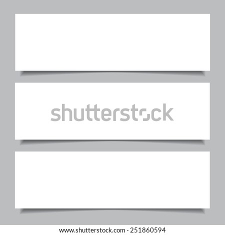 Set of  white horizontal paper banners with shadows, isolated on gray background. Raster illustration for your design. - stock photo