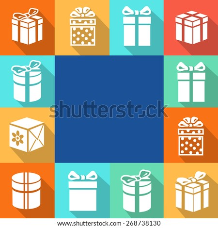 Set of  white icons of gift boxes with  colorful backgrounds.  illustration - stock photo