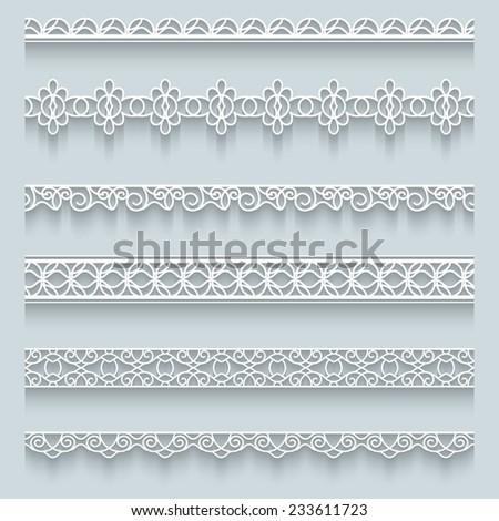 Set of white lace borders with shadow, raster ornamental paper lines