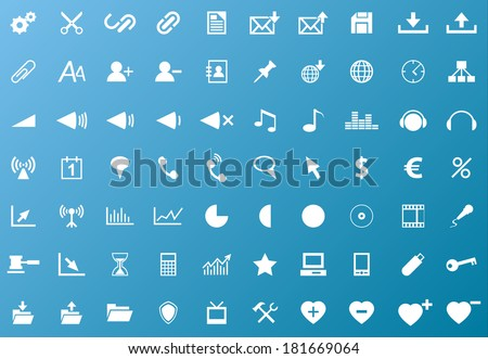 Set of white navigation web icons on blue background (Vector version is also available in my portfolio, ID 129331481) - stock photo