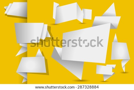 set of white origami tags, banners and labels on a yellow background - stock photo