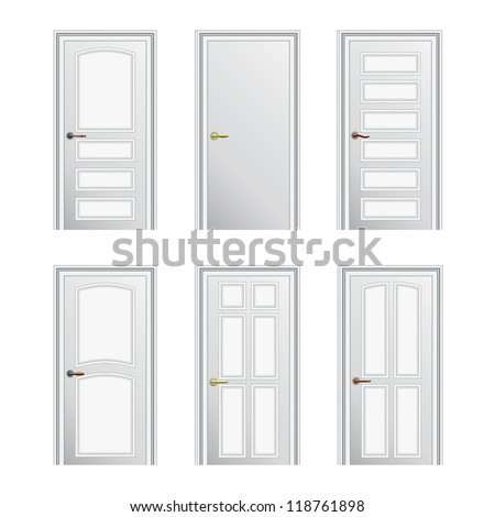 Set of 6 white painted profiled doors. Raster version of the vector image - stock photo