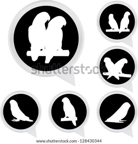Set Of White Parrot Bird on Black Icons Isolated on White Background - stock photo