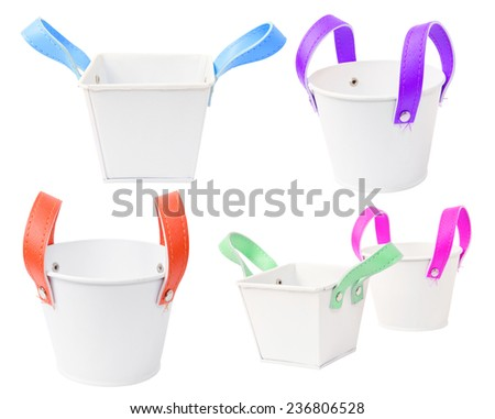 Set of White plastic bucket. Product Packaging For other tool. clipping path - stock photo