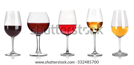 Set of white, rose, and red wine glasses, isolated on white - stock photo