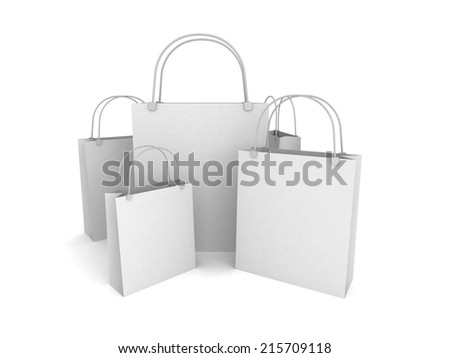set of white shopping bags. sale concept 3d render illustration