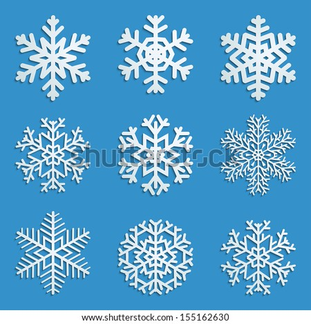 Set of white snowflakes various forms with shadows on blue background. Raster version. - stock photo