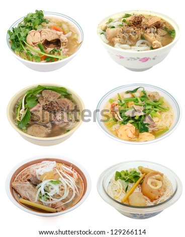 Set of whole noodle soups cuisine - stock photo