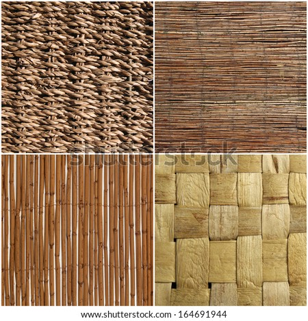 set of wicker wood texture or background - stock photo