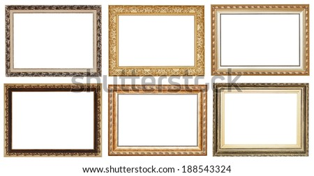 set of wide golden ancient wooden picture frames with cut out canvas isolated on white background