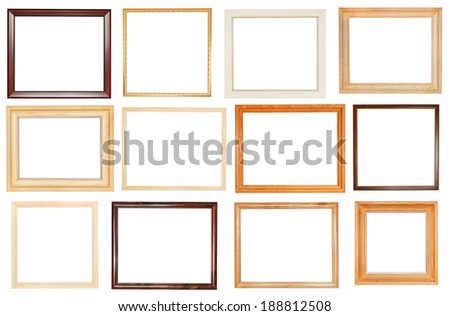 set of wide wooden picture frames with cut out canvas isolated on white background - stock photo