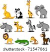 set of wild animals - stock vector