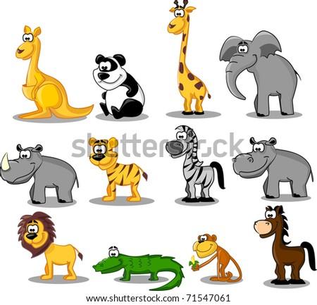 set of wild animals - stock photo