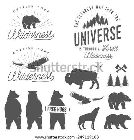 Set of wilderness quotes, emblems, silhouettes and design elements - stock photo