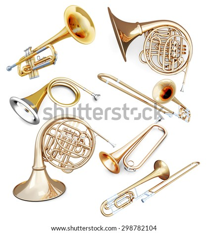 Set of wind instruments isolated on white background. 3d illustration. - stock photo