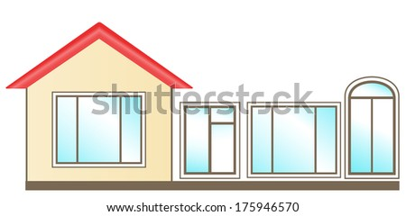 set of windows for installation in home - stock photo
