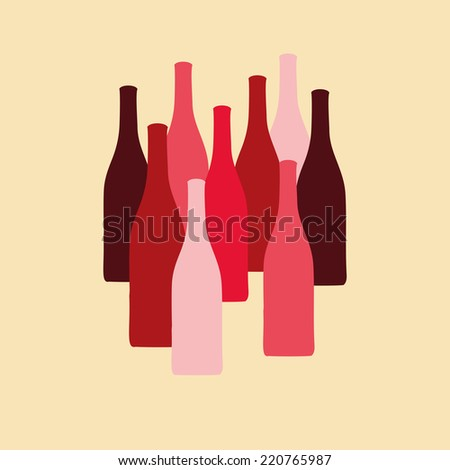 set of wine bottle silhouettes in red colors
