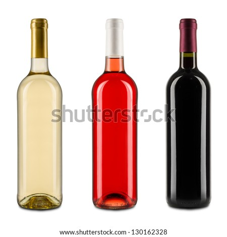 set of wine bottles - stock photo