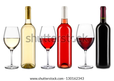 set of wine bottles and glasses