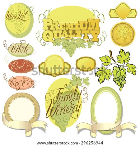 Set of wine design elements for bar or restaurant - signs, icons, vignettes collection, calligraphy words - FAMILY WINERY, WINE LIST, red, white, rose.  Raster version - stock photo