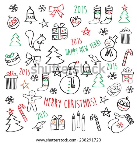 Set of winter, Christmas, New Year pictures. Merry Christmas. Happy New Year. Hand drawing on the white background. Doodles, sketch, design elements. - stock photo