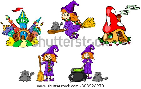 Set of witches and castles.Illustration for children