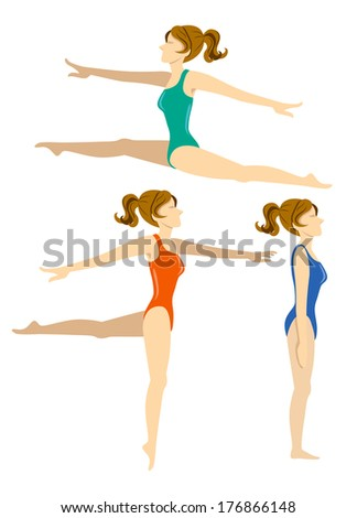 set of woman doing ballet - stock photo