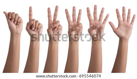 Set of woman hands making the numbers from 0 to 5