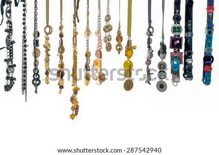 Set of woman many belts and satin dangle - stock photo