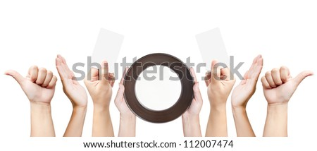 Set of women hand gestures isolated on white background - stock photo