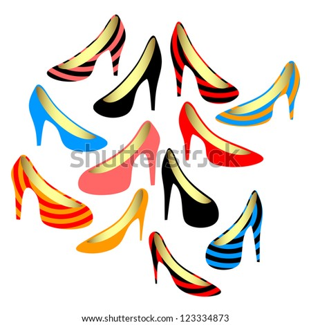 Set of women's shoes. Isolated objects on a white background. EPS version is available as ID 102957377.