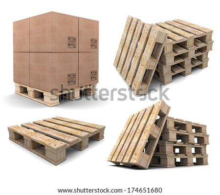 set of wood pallets isolated on white background - stock photo