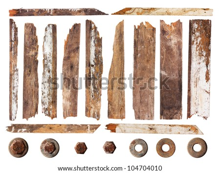 Set of wood plank isolated on white background (Save Paths For design work) - stock photo