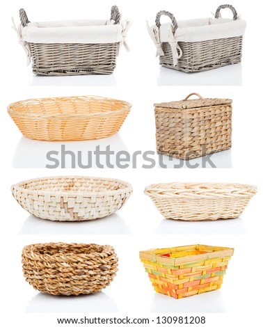 set of wooden baskets, isolated on a white background - stock photo