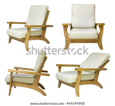 set of wooden chair isolated on white with clipping path - stock photo