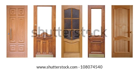 Set of wooden doors. Isolated over white background
