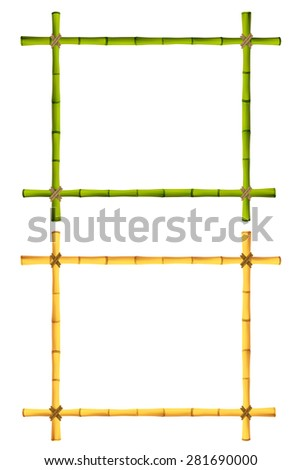 Set of Wooden frame of old bamboo sticks. Illustration. Isolated on white