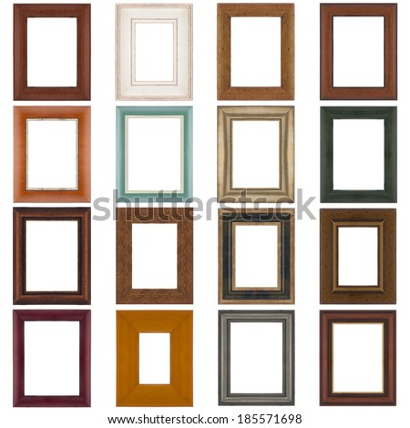 Set of wooden frames isolated on white background. - stock photo