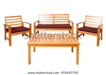 Set of wooden garden furniture (chairs, tables, benches) on a white background isolated - stock photo