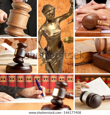 Set of wooden gavel and law 2 - stock photo