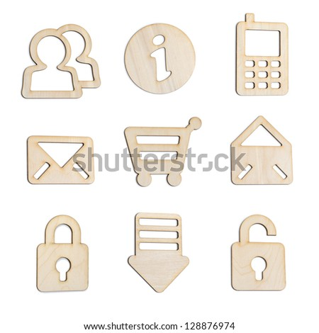 Set of wooden icons for modern website and applications - isolated on white background