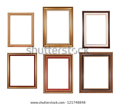 set of wooden picture frames - stock photo