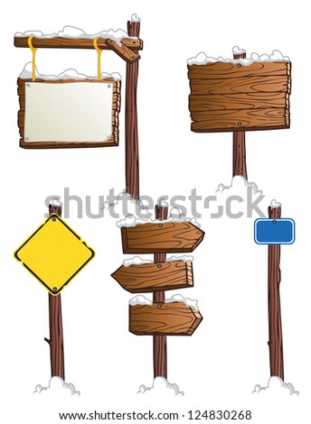 set of wooden road signs