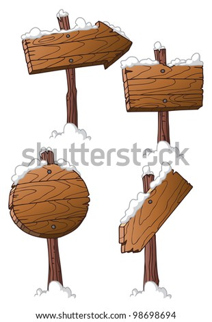 set of wooden road signs - stock photo