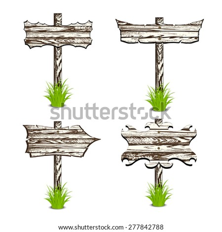 Set of Wooden sign and arrow on grass. Illustration. Isolated on white - stock photo