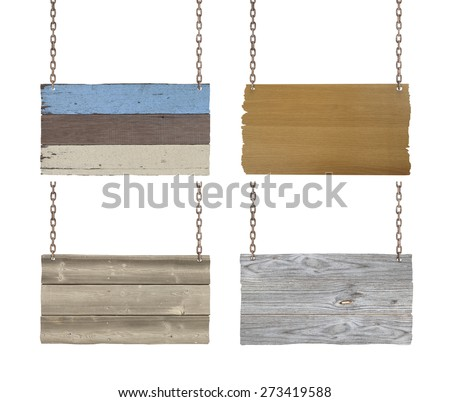 Set of wooden signs with chain on white background. - stock photo