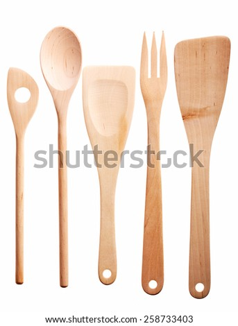 Set of wooden spoon, isolated on white background.