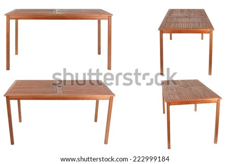 set of wooden table isolated on white background - stock photo