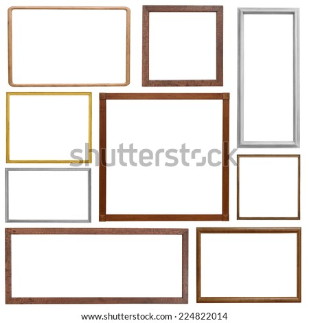 Set of wooden vintage frame isolated on white background - stock photo