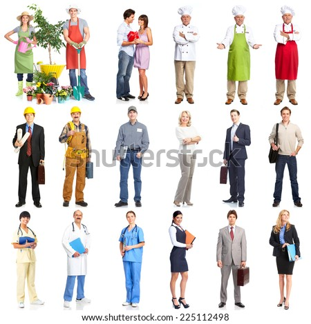 Set of workers people team isolated over white background.